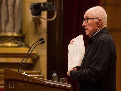 El Síndic de Greuges, Rafael Ribó, durante la última presentación de su informe ante el pleno del Parlament.