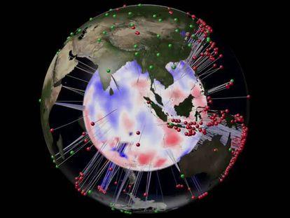 Los puntos verdes son centros de información sísmica y los rojos corresponden a terremotos. Las regiones azules representan las ondas con mayor velocidad sísmica y las rojas las que menos.