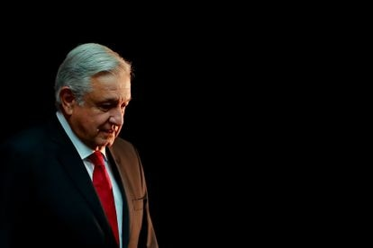 El presidente Andrés Manuel López Obrador en Palacio Nacional.