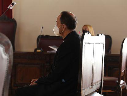 El sacerdote J. L. G. declara en la Audiencia Provincial de Toledo, este martes.