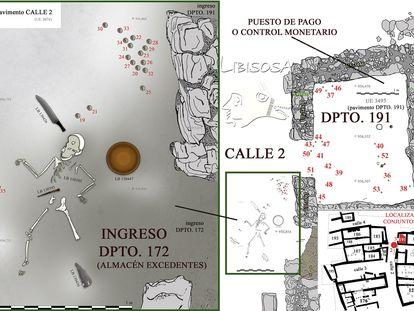 Dibujo de los restos de la niña, las monedas y objetos cercanos y del Departamento 191 de Libisosa.