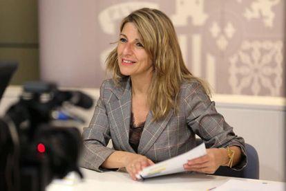 La ministra de Trabajo y Economía Social, Yolanda Díaz, durante una reunión este lunes.