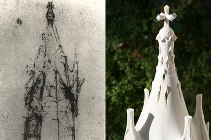 On the left, Antoni Gaudí's original sketch of the Chapel of the Assumption.  On the right, a model for the project in Rancagua, Chile.