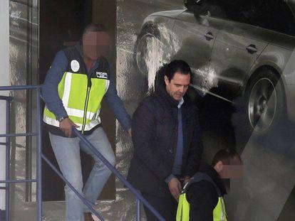 Miguel López, tras su detención.