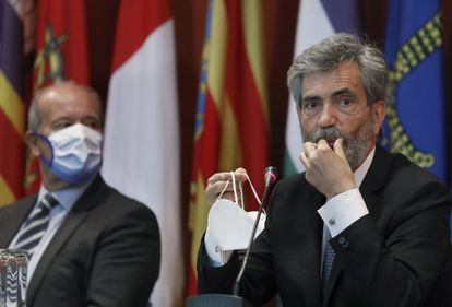 El presidente del Consejo General del Poder Judicial (CGPJ), Carlos Lesmes, durante el acto de entrega de despachos a la nueva promoción de jueces, el 25 de septiembre en Barcelona.