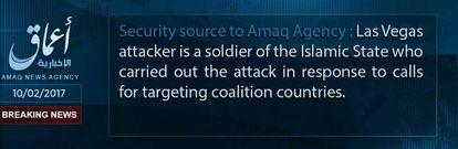 """Comunicado de Amaq, medio afín al ISIS: """"El atacante de Las Vegas es un soldado del Estado Islámico que perpetró el ataque en respuesta a las llamadas contra los países de la coalición"""""""