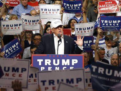 Trump, en un mitin en Michigan, el viernes.