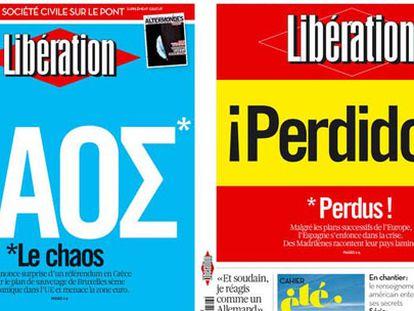 Portadas de 'Libération' de noviembre de 2011 sobre Grecia y de este jueves sobre España.