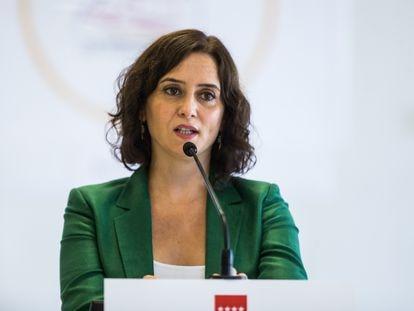 La presidenta de la Comunidad de Madrid, Isabel Díaz Ayuso, en un acto esta semana por el inicio del curso escolar.