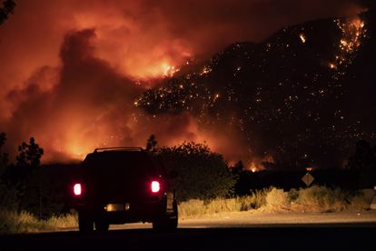 Fire on a mountainside in Lytton, Thursday, July 1.