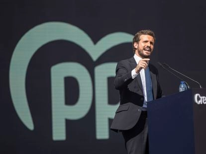 Pablo Casado, durante su discurso de clausura en la convención nacional del PP, este domingo en Valencia.