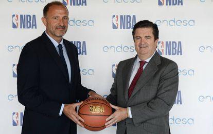 Borja Prado, Presidente de Endesa  y Jesús Bueno, Vicepresidente de Desarrollo de Negocios de Baloncesto de la NBA para EMEA.