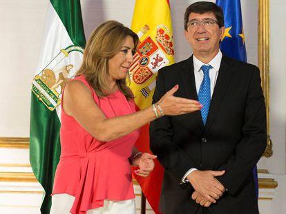 La presidenta andaluza, Susana Díaz, y el líder de Ciudadanos, Juan Marín.