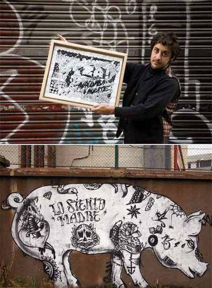 Arriba, Ernesto La Mela. A la izquierda, <i>graffiti</i> en Sant Adrià del Besòs.