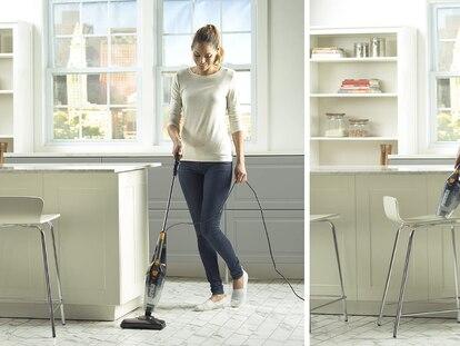 Con esta versátil aspiradora tipo escoba podrás limpiar la casa con facilidad.