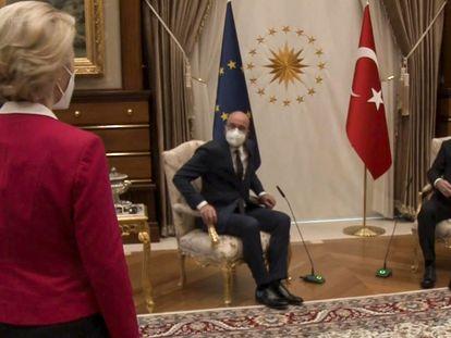 Ursula von der Leyen, Charles Michel y Recep Tayyip Erdogan, en la reunión mantenida el martes.