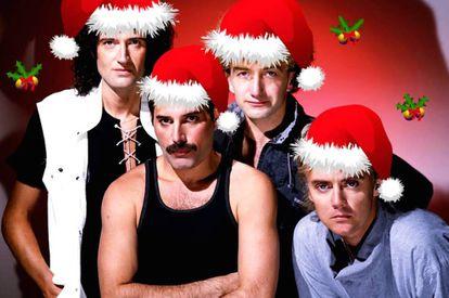 Queen es el grupo con más himnos de la historia. Sin embargo, su villancico no lo recuerda nadie. En la imagen, montaje navideño sobre una imagen de los cuatro músicos.