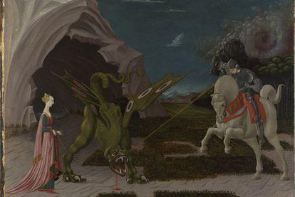 , y</b> Saint George and the Dragon   (hacia 1470), de Paolo Uccello. La historia que reproduce el cuadro procede de una colección de vidas de santos escrita en el siglo XIII, <i>The Golden Legend.</i> Uccello realizó una versión anterior y menos dramática del mismo tema que se encuentra en París.