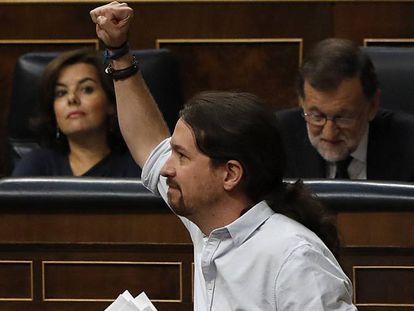 Pablo Iglesias tras su intervención en el debate de investidura.