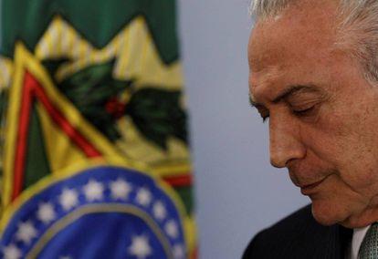 Michel Temer en su comparecencia de prensa en Planalto