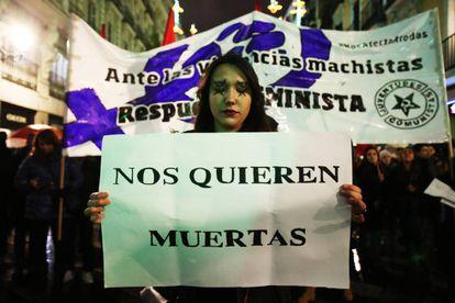 Manifestación en Madrid contra la violencia de género.