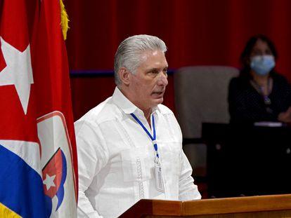 El presidente cubano, Miguel Díaz-Canel, en el VIII Congreso del PCC.