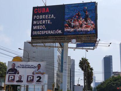 Anuncios en las calles contra la candidatura de Pedro Castillo, en Lima (JF).