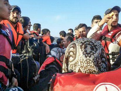 Um Alí, en la patera hacia Lesbos.