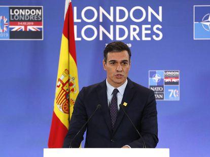 El presidente del Gobierno en funciones, Pedro Sánchez, durante su participación en la cumbre de la OTAN, la semana pasada en Londres.
