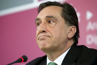 Xabier Agirre, momentos antes de su comparecencia en la Diputación Foral