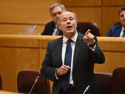El ministro de Justicia, Juan Carlos Campo, durante la sesión de control en el Senado, este martes en Madrid.