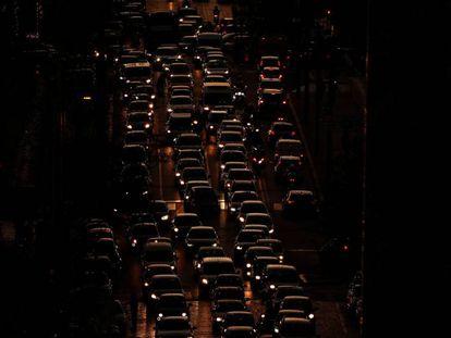 Colapso de tráfico en Roma.