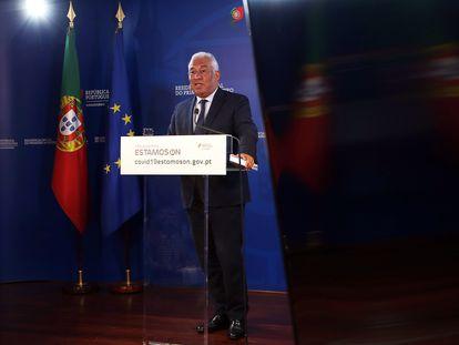 El primer ministro portugués, António Costa, el jueves en la conferencia de prensa tras la reunión por videoconferencia de la Comisión Europea.