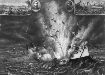 Destrucción del buque estadounidense 'Maine' en el puerto de La Habana en 1898.