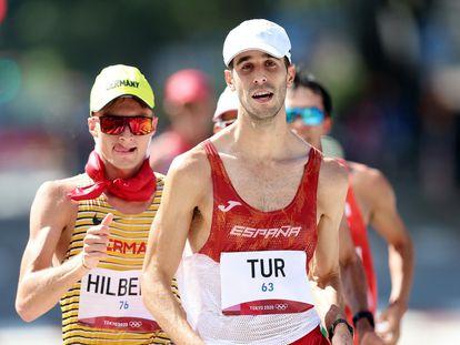 El atleta Marc Tur durante la prueba de marcha en los Juegos Olímpicos de Tokio
