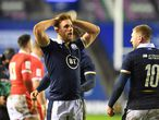 Scotland's centre Chris Harris reacts at the end of the Six Nations international rugby union match between Scotland and Wales at Murrayfield Stadium in Edinburgh on February 13, 2021. (Photo by ANDY BUCHANAN / AFP)