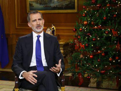Felipe VI, durante su discurso de Navidad.
