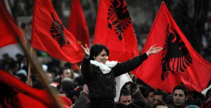 Celebración de la independencia de Kosovo, en 2008.