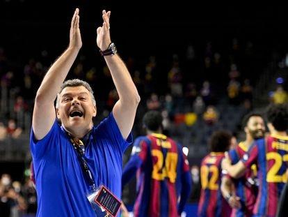 Xavi Pascual celebra el triunfo del Barça en la final de la Liga de Campeones contra el Aalborg.
