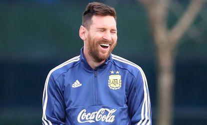 Messi, durante el entrenamiento de Argentina en Buenos Aires.