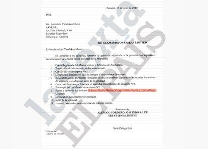 Correspondencia relacionada con Alamanda Overseas Limited.