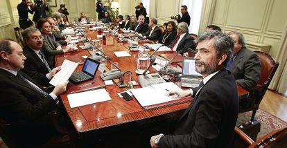 El pleno del Consejo General del Poder Judicial. En primer término, su presidente, Carlos Lesmes.