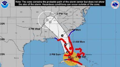 Trayectoria proyectada del huracán Irma.