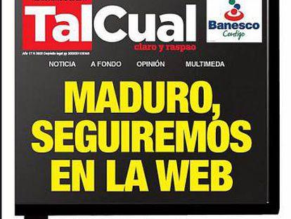 Última portada impresa del diario venezolano Tal Cual.