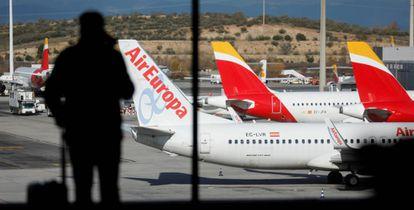 Aviones de Air Europa e Iberia en Barajas.