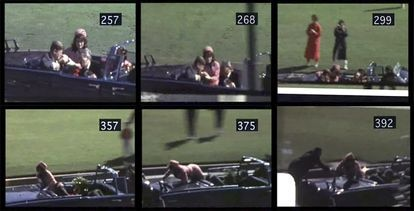 En la imagen, seis fotogramas de la filmación de Abraham Zapruder del asesinato de John Kennedy el 22 de noviembre de 1963.
