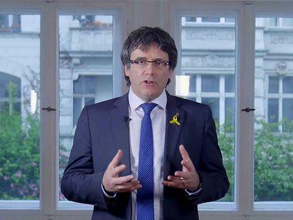 Carles Puigdemont, durante una intervención desde Berlín colgada en You tube en la que propuso a Quim Torra como su sucesor para presidir la Generalitat.