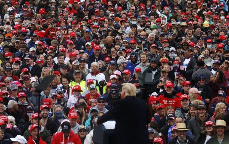 Trump en un acto de campaña en Lititz, Pensilvania.