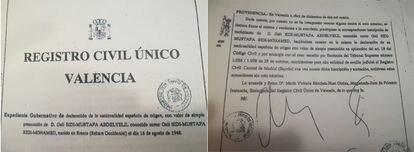Documento del Registro Civil de Valencia que acredita la nacionalidad española de Brahim Gali.
