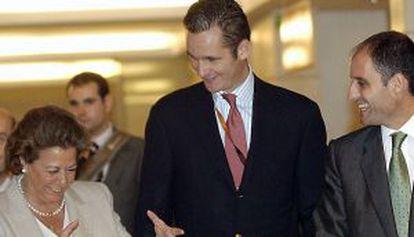 Barberá, con Urdangarin y Camps, en el encuentro Valencia Summit de 2004.